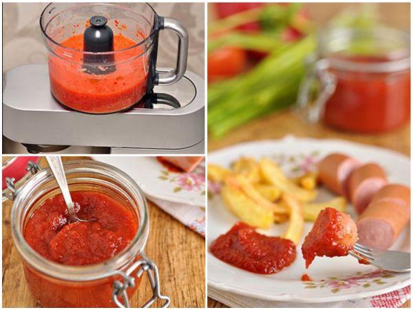 Evde ketçap çok basitçe pişirilecek bir domatesden
